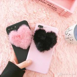 plüschherzen Rabatt Mytoto 3D Cute Candy love Hearts Plüsch Haariger weicher Fall für das iPhone 5 5s SE 6 6s 7 8 plus X XR XS XS MAX rosa reizende Abdeckungsfälle coque