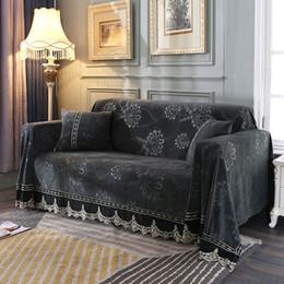 Muebles europeos de lujo online-Floral 3D Sofá cubierta de toallas para la sala de estilo europeo felpa Fundas Muebles Sofá Cubierta de lujo cubiertas de tela de encaje Decoración