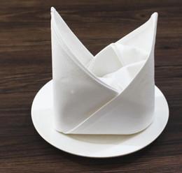 Servilletas de tela online-50 cm * 50 cm Liso Blanco Servilleta de Algodón Hotel Restaurante Casa Servilletas de Tela Tela de la Boda Toalla de Cocina Toallas de mesa Paño GGA2131