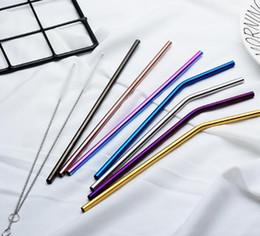 6 * 215mm 304 paglia in acciaio inox piegato e dritto riutilizzabile cannucce colorate paglia cannucce in metallo spazzola pulitore bar bere strumento da
