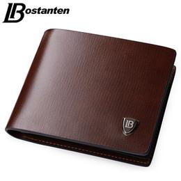 2019 carteras nuevas Bostanten New Men Short Wallets Black Brown Bifold Wallet Marca para hombre de cuero Titular de la tarjeta Dinero Monedero Monederos Bolsillos Y19052104 rebajas carteras nuevas