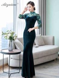 chinesisches traditionelles kleid grün Rabatt New Velvet Printing Cheongsam Frauen chinesischen traditionellen Kleid Qipao Deep Green Mermaid Dressing Oriental Vintage-Partei-Kleider