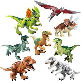 Bloco jurássico on-line-Mini figuras Jurassic Park Dinossauro blocos 8 pçs / lote Velociraptor Tyrannosaurus Rex Blocos de Construção Conjuntos Crianças Brinquedos Bricks presente