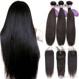 2019 mischfaser haarverlängerungen Königinähnliche peruanische Haarbündel mit Verschluss Non Remy Weft 100% Echthaar 3 Bündel Gerade Haarbündel mit Verschluss