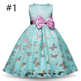 4t vestito di compleanno fantasia online-Fancy Butterfly Kids Girl Wedding Flower Girls Dress Princess Party Pageant Formal Dress Prom Little Baby Girl Birthday Dress