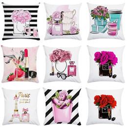 Garrafas de perfume pintadas on-line-Pintado travesseiro caso das garrafas de perfume Pillowcase Mão Flores Super Macio Sofá Início decorativa 45 centímetros * 45 centímetros 3 8oy F1
