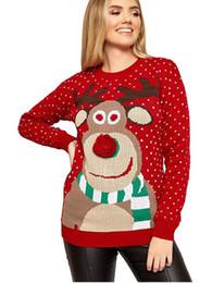 Hässliche drucke online-Frauen hässliche Weihnachten Sweater Elk Printed Strick Frühling Winter lang Sleeved Weihnachten Pullover