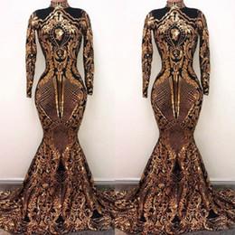 zwei tone ball kleider Rabatt African Gold Mermaid Prom Dresses Pailletten Applique Langarm Abendkleid Arabisch Party Kleider Kleider für besondere Anlässe