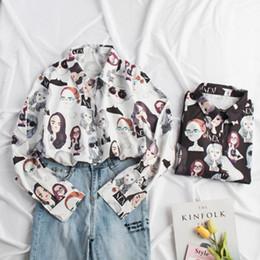 2019 blusa de solapa blusa suelta tops Verano de Las Mujeres Estampado Floral Camisas de Gasa de Fitness de Manga Larga Floja Blusa Y Tops Ocasional de la Solapa Retro Temperamento Tops blusa de solapa blusa suelta tops baratos