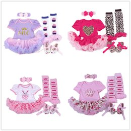 zebra dress shoes Promo Codes - Fashion Baby Clothes Set Newborn Bodysuit Leg Warmer Shoe Headband 4 in 1 Suit Princess Girls Tutu Dress Jumpsuits Sweet Outfits Skirts