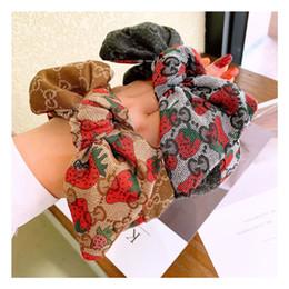 kleine mädchen haarclips großhandel Rabatt Designer Stirnbänder Frauen-Haar-Sticks Marke Stirnbänder Bow G Erdbeere Printed Weibliche Haarbänder