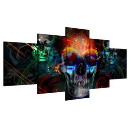 2020 lienzo arte de la pared ny Pintura en lienzo Horror Poster Wall Art HD Impresiones 5 paneles Abstract Skull Wall Pictures para sala de estar Decoración para el hogar ny-2707 lienzo arte de la pared ny baratos