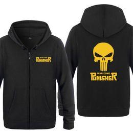 Sudadera con capucha para hombre Punisher Skull Impreso Hoodies Hombres  Fleece Abrigo de manga larga con cremallera Chaqueta de invierno Skate Hip  Hop ... 8268a8701fa0