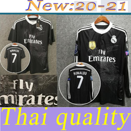 Camicie dragon cinesi online-Ronaldo Benzema ISCO manica lunga 2014 2015 Real Madrid retrò calcio jersey 14 15 Vintage Third Black Football Camicia Drago cinese