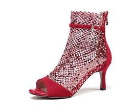 Crystal mesh été bottes dames sexy bottes à fermeture éclair sandales peep toe bottillons talons hauts boucle femmes chaussures noir Plus Size d2a42 ? partir de fabricateur