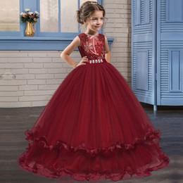 Trajes de piano online-Venta al por menor largo bordado de diamantes vestidos de niña de las flores para la boda 5-14Y niños diseñador vestido niñas piano traje princesa vestido boutique de tela