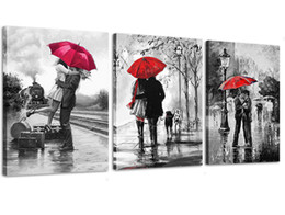 Paraguas de lona online-3 unids Canvas Wall Art negro blanco y rojo Umbrella Loves in Street Impreso en lienzo enmarcado Picture for Wall Decor