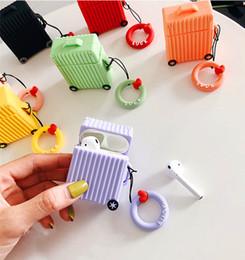 fundas para auriculares Rebajas Maleta Funda protectora de silicona Airpod Auricular Correa protectora para Apple Bluetooth de carga inalámbrica para auriculares con caja al por menor