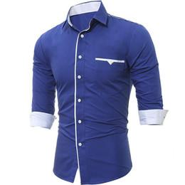 2019 pop de poche Nice Pop Line Front Decor Pocket Chemises Brand-vêtements pour hommes Chemises de ville À manches longues Coupe Slim Casual Homme Chemise Homme XXXL pop de poche pas cher