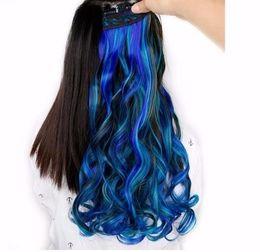Наращивание волос на основе смешанных волокон онлайн-2019 высокая температура синтетического волокна 5 клипы в наращивание волос для черно-белых женщин смешанный цвет розовый/синий/зеленый Haitstyles