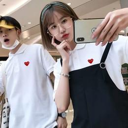 pareja divertida tees Rebajas Red Heart Impreso Divertido Polo Diseñador de moda Juego Juegos Camisetas Mujer Casual Tops Sólidos Tops