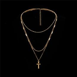 elegante halsketten perlen Rabatt Böhmische Perle Kreuz Anhänger Halskette handgemachte Multi Layer Ketten Halskette für Frauen elegante Gold Silber Farbe Kreuz Anhänger Choker Drop Ship