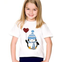 ab09c47c3335a Pingouin   Robot en Amour Imprimé Enfants Drôle T-shirts Enfants Été O-Cou  Tees Garçons   Filles Casual Grands Tops Vêtements de Bébé