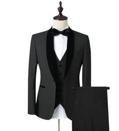 Nouvelle arrivée un bouton tuxedos groom noir châle revers hommes de noce groomsmen 3 pièces costumes (veste + pantalon + gilet + cravate) K164 ? partir de fabricateur