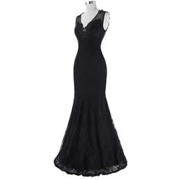 Argentina 2019 Formal de encaje negro sirena vestidos de noche con cuello en v Foto real ocasión especial de fiesta vestidos de fiesta por encargo vestido de fiesta Suministro