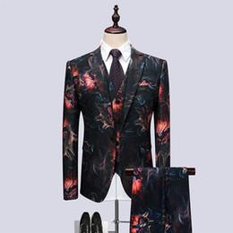 Корейские мужские костюмы онлайн-2018 New Nightclub Korean Version Of The Slim Suit Three Sets Of Tide Male Host Performance Floral Personality Dress Tide terno