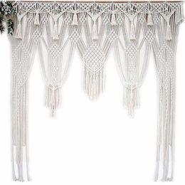 decoración casera artesanía hecha a mano Rebajas Macrame bohemio blanco Tejido hecho a mano Cuerda de algodón Tapiz Tapiz Tapicería Banner Borla Artesanía Decoración para el hogar Textiles