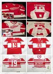 jersey de steve yzerman Rebajas Barato personalizado STEVE YZERMAN DETROIT RED WINGS VINTAGE CCM RED WHITE HOCKEY JERSEYS Hombres jerseys de costura personalizados