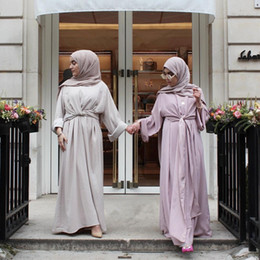 Deutschland Großhandel muslimischen Frauen Verband langärmeligen Kaftan Kleid S-2XL Plus Größe Frauen Abend Party Jilbab Kleid Versorgung