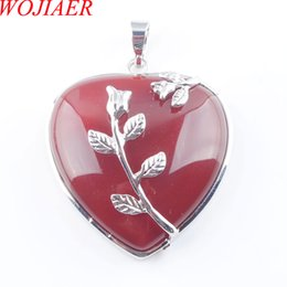 Красное сердце драгоценное ожерелье онлайн-WOJIAER Богемный Стиль Женщины Ювелирные Изделия Love Heart Gem Камень Ожерелья Натуральный Красный Агат Камень Подвески Подвеска DN3189