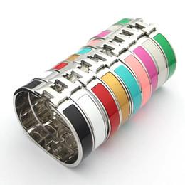 manchette large en argent sterling Promotion Designer de luxe Bijoux Femmes Bracelets Mens Bracelets En Acier Inoxydable De Mode H Lettre Bracelets Bracelet Pour Les Femmes