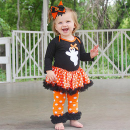 aee26395150 good quality 2019 New children s clothing for girls Ghost Dot Dress Romper  Pants Halloween Outfits Set kids clothing set conjunto infa