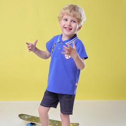 2019 polo para niños al por mayor Crossborder Summer 2019 New Boys Camiseta de manga corta Ropa para niños Turncollar Ropa de algodón puro para niños POLO Dos por mayor polo para niños al por mayor baratos