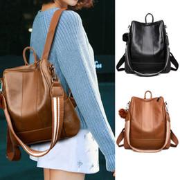 2534f3b40af0 Women s Fashion Retro Leather Shoulder Bags School Book Travel Handbag  Backpacks Ladies PU Solid Trendy Backpacks Female