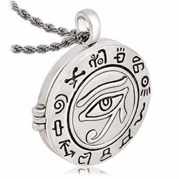 Medallón religioso online-Al por mayor- Moda Religiosa Egipcia Ojo de Ra Horus Udjat Photo Box Locket Colgante Collar