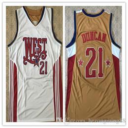 Camiseta de baloncesto bordada con bordado bordado para hombre de alta calidad # 21 Duncan Tim West 2008, personalizada Cualquier nombre y número desde fabricantes