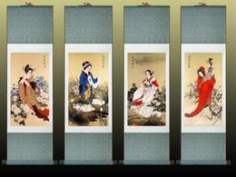 pinturas de delfines Rebajas 4 Pc / lote Chino Tradicional Pretty Girls Pintura Home Office Decoración Beautifull Mujeres Painting1906181723