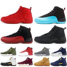 size 40 61e28 0bf1b 12 12s Hommes Chaussure De Basket-ball Gym Rouge OVO FLU GAME Blanc Laine  Gris Foncé Pas Cher XII Designer Hommes Sneakers Chaussures De Sport Taille  40-47 ...