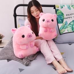 Suini rosa peluche online-1pc bello grasso rotondo maiale peluche kawaii animale rosa maiale bambole farcito giocattoli per bambini morbido cuscino ragazze di natale regalo di san valentino Y19062704
