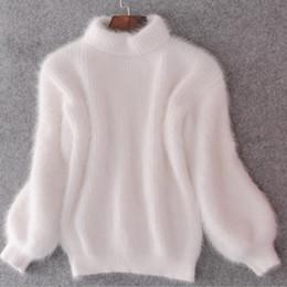 Pullover mohair online-Fashion-ter maglione girocollo in cashmere mohair donne maglioni e pullover visone caldo pullover manica lunga lanterna allentata Y18102001