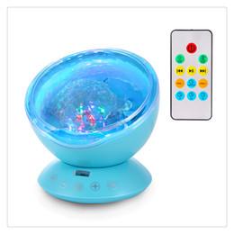 Luz azul led do oceano on-line-Ocean Wave Música Mini Projetor LED Night Light Luzes Coloridas Criar um Romântico Relaxante e Delicioso Atmosfera Branco Preto Azul