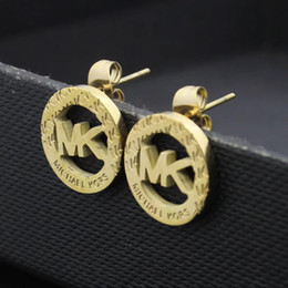rhinestone letter earrings Promo Codes - NEW Top quality Exquisite Diamond Round Letter Stud Earrings Fashion Simple 18K Gold plated Silver Stud Earrings