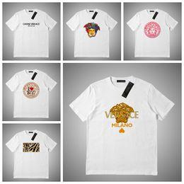 polo cinzento Desconto Versace Mens Designer de luxo T Shirt Das Mulheres Dos Homens Máscara Verão Camiseta Hip Hop Cinza Branco de Manga Curta Polo S-2XL # 45641