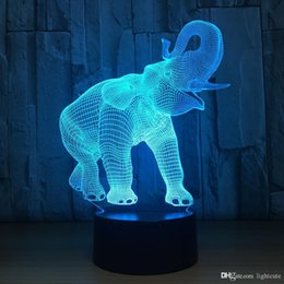 Luzes led led on-line-Derramamento Nose abajur Elephant 7 Cores Alterando Desk Lamp 3d Lamp Novidade Led Night Lights Led Light DropShip