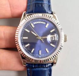 e0d745f7fd37 Relojes de lujo DAYDATE 36 MM plata caso de alta calidad reloj para hombre  movimiento automático correa de cuero de zafiro promoción reloj de pulsera  ...
