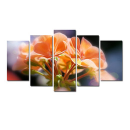 flowers posters canvas Coupons - 5 Pcs Combinations HD Yellow Red Beautiful Potted Flowers Pattern Unframed Canvas Painting Wall Decoration Printed Oil Painting poster